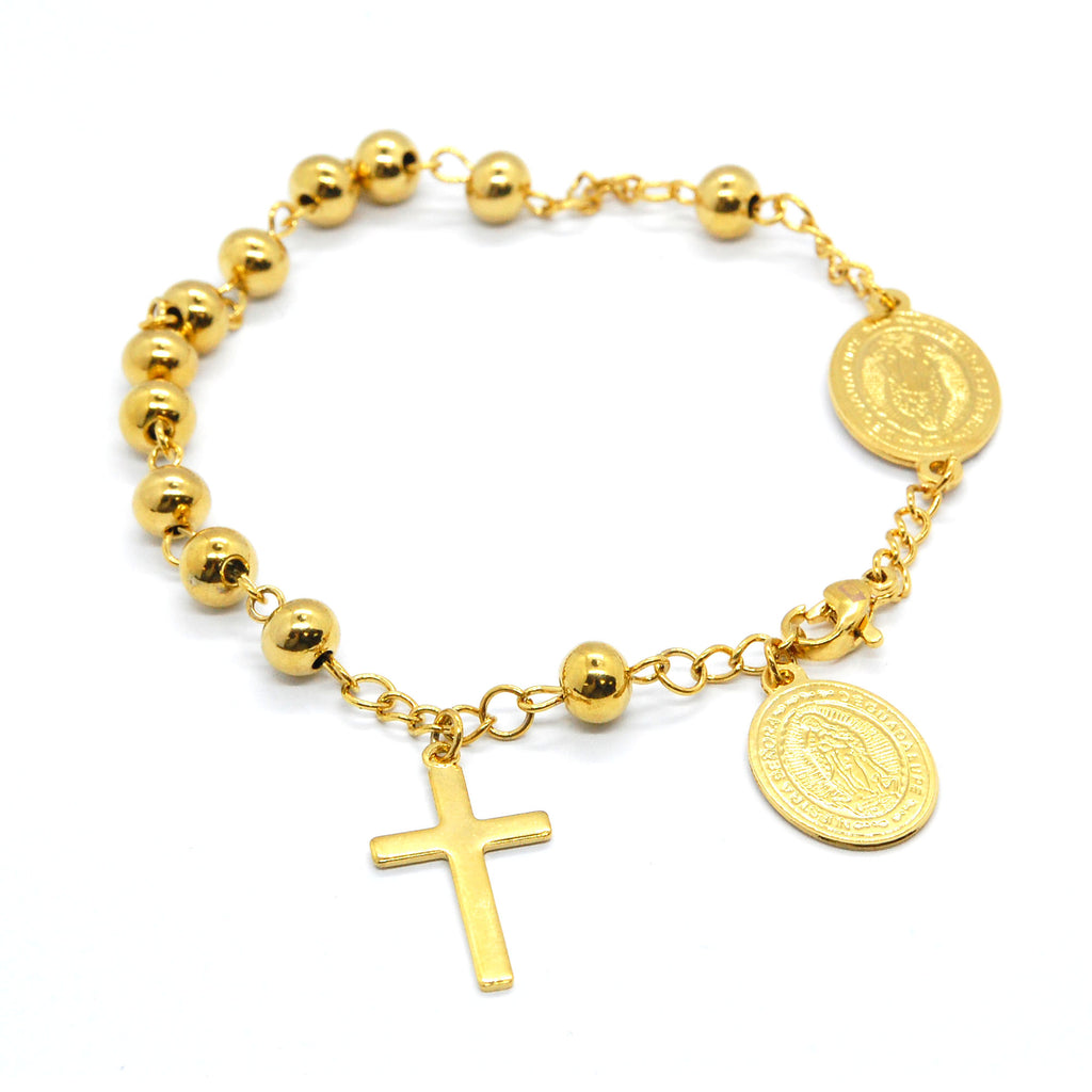 ESBL 6741: Gold Plated 12-Ball Rosary Bracelet w/ 1 Cross 2 Virgin Mary Charms