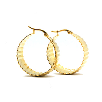 ESE 6744: Gold Plated Large 14mm Lined Hoop Earrings
