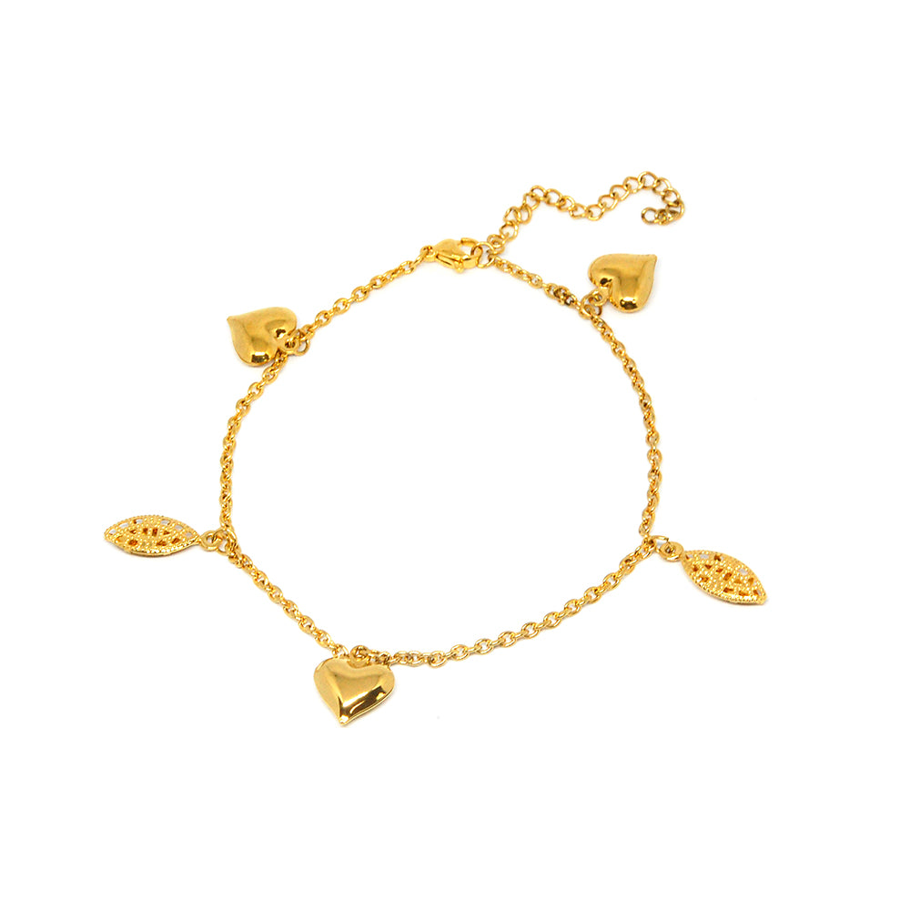 ESBL 6752 : Gold Plated 3-Solid Heart 2-Accented Eye