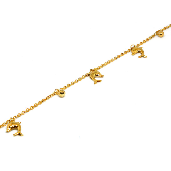 ESBL 6754 :  Gold Plated 3-Dolphin & 2-Ball Bracelet