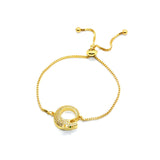 ESBL 6755: Gold Plated Cz Studded Ouroboros Adjustable Blet
