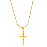 "ESN 6772: Gold-Plated 7-Ball Crucifix Necklace w/ 17.5"" Flat Snake Chain"