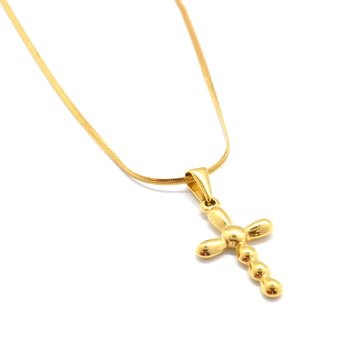 ESN 6772: Gold-Plated 7-Ball Crucifix Necklace w/ 17.5