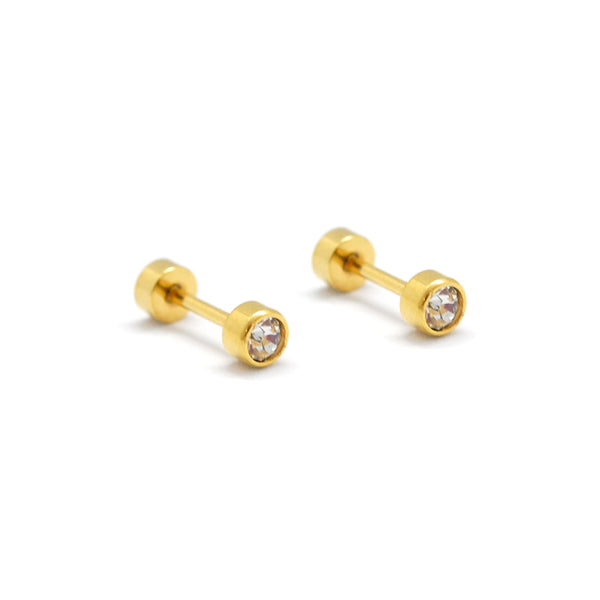 ESE 6775: Gold Plated Enclosed 4mm Studs w/ Baby Safe Chapita