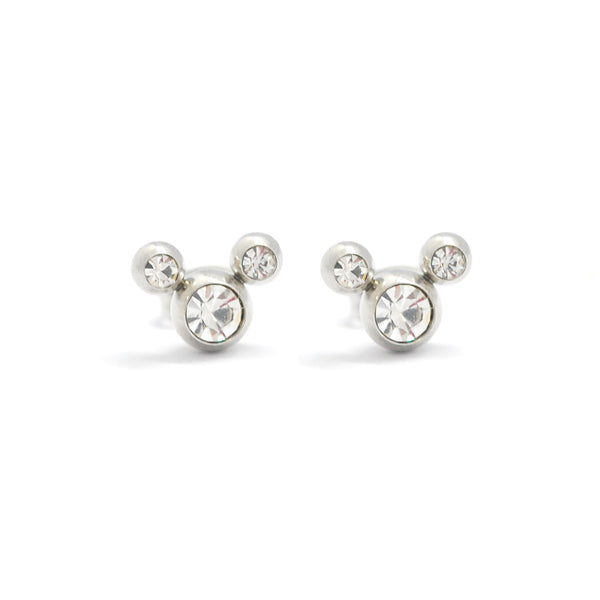 ESE 6776: Cubic Zirconia Studded Mickey Mouse Earrings