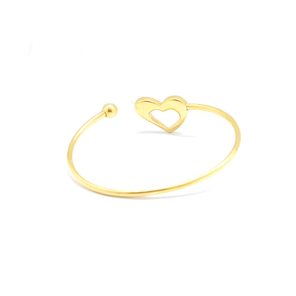 ESBG 6782: Gold Plated Thin Bangle w/ Heart Silhouette Ends