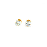 ESE 6846: Gold Plated 4mm Princess Cut Cz w/ Baby Safe Chapita
