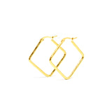 ESE 6863 : Gold Plated Etched Diamond Hoops (28mm)