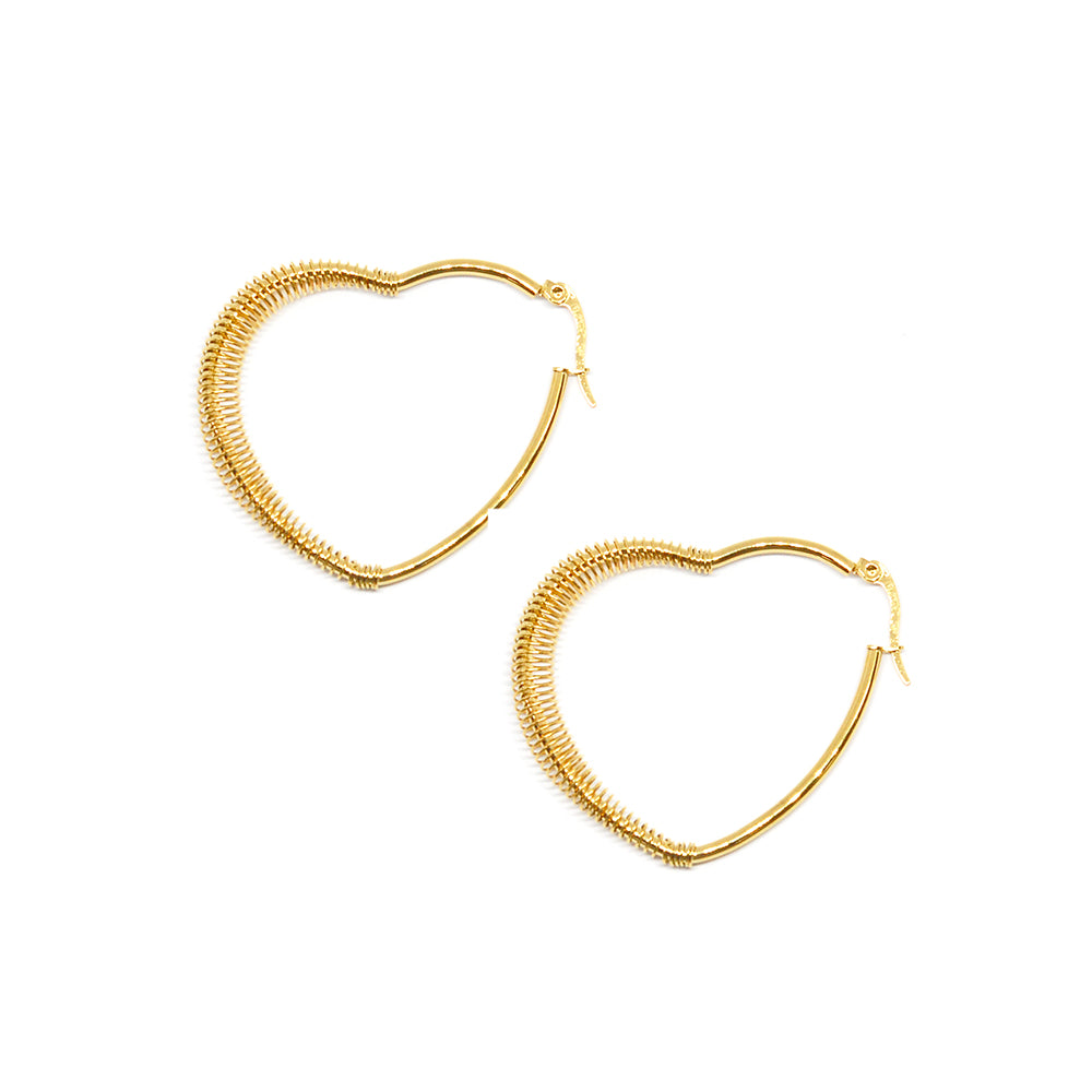 ESE 6864 : Gold Plated XL Heart Hoop Earrings w/ Twisted Accent (42mm)