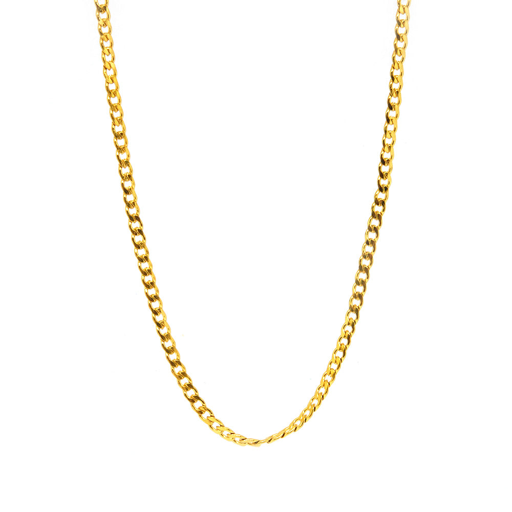 "ESCH 6879 : 19"" All Gold Plated Glossy Cuban Link Chain (2mm)"