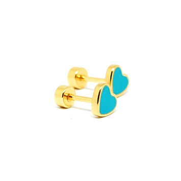 ESE 6897: Playful All IPG Colorful Heart Studs w/ Child Safe Chapita