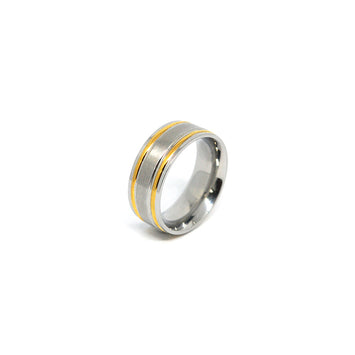 ESR 4376: Marie Glossy Comfort Fit Ring w/ Double Gold-Plated Lines