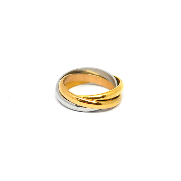 ESR 4374: Lauren Tri-Color  Forever Ring (White/Gold/Rose Gold)