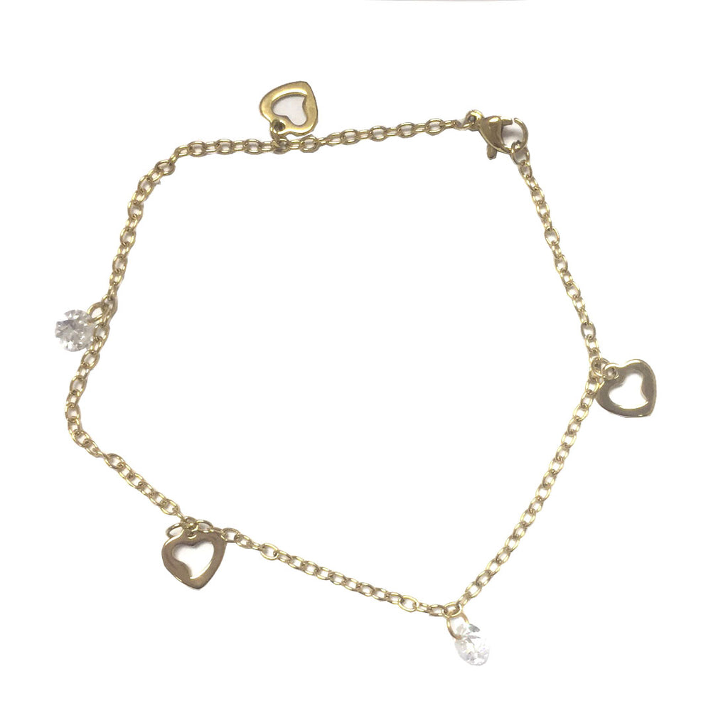 ESA 5230: Heart Outline Anklet w/ 2 Cubic Zirconia Charms