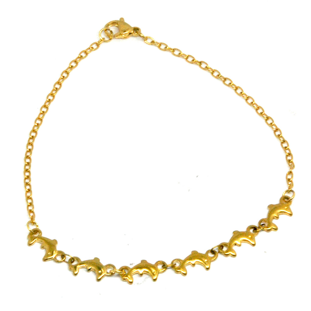 ESA 6294: Gold-Plated Dolphin Adjustable Anklet