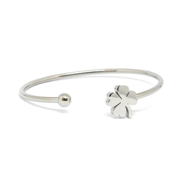 ESBG 6874: Thin Bangle w/ Lucky 4-Leaf Clover End