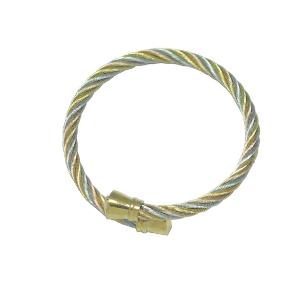 ESBG 4965: 3-Tone Twisted Charriol Bangle w/ Gold Plated Barrel Ends