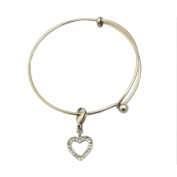 ESBG 5269: Thin Twist Bangle w/ Cubic Zirconia Studded Heart Charm