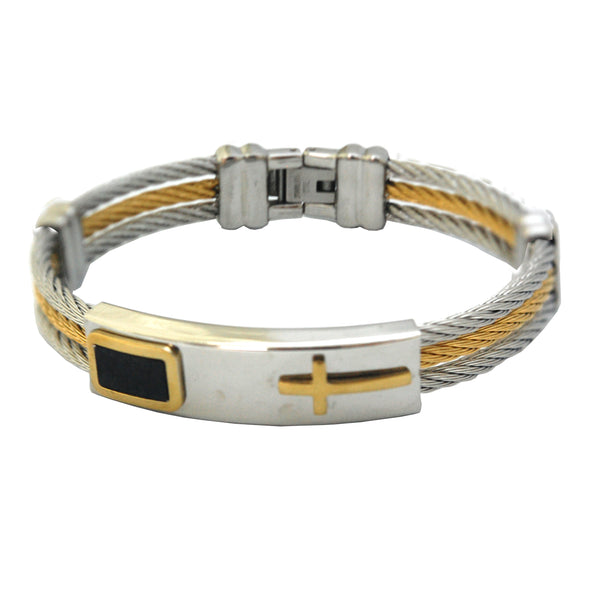 ESBG 5837: Clark 2-Tone 2-Steel Lined Male Bracelet w/ Gold PLated Cross Center