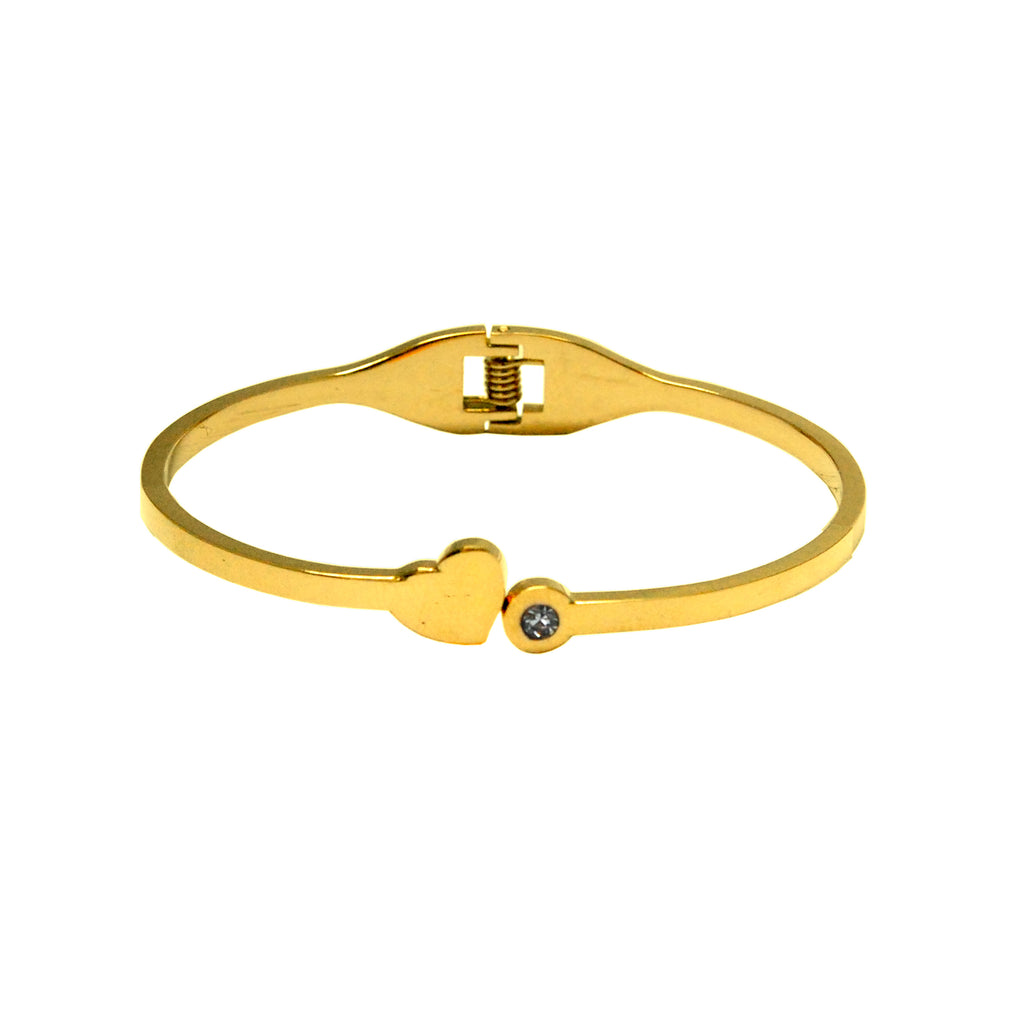 ESBG 5559: Hard Bangle w/ Sweet Heart & Cz End (Gold)