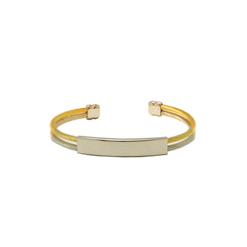 ESBG 5620: Elegant 2-Tone 2-Lined ID Nameplate Bangle