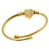 ESBG 6003: Classic Gold-Plated Tightly Wound Bangle w/ Solid Heart Center (Gold)