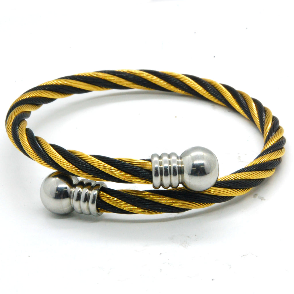ESBG 6191: 2-Tone Twisted Charriol Bangle w/ White Ball Ends (Black, Gold)