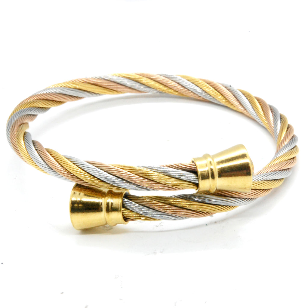 ESBG 6192: 3-Tone Twisted Charriol Bangle w/ Gold Barrel Ends (White, Yellow Gold, Rose Gold)