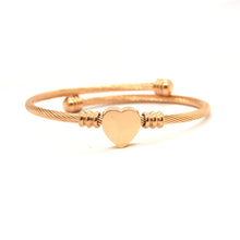 ESBG 6575: Classic Rose Gold Tightly Wound Bangle w/ Solid Heart Center (Rose Gold)