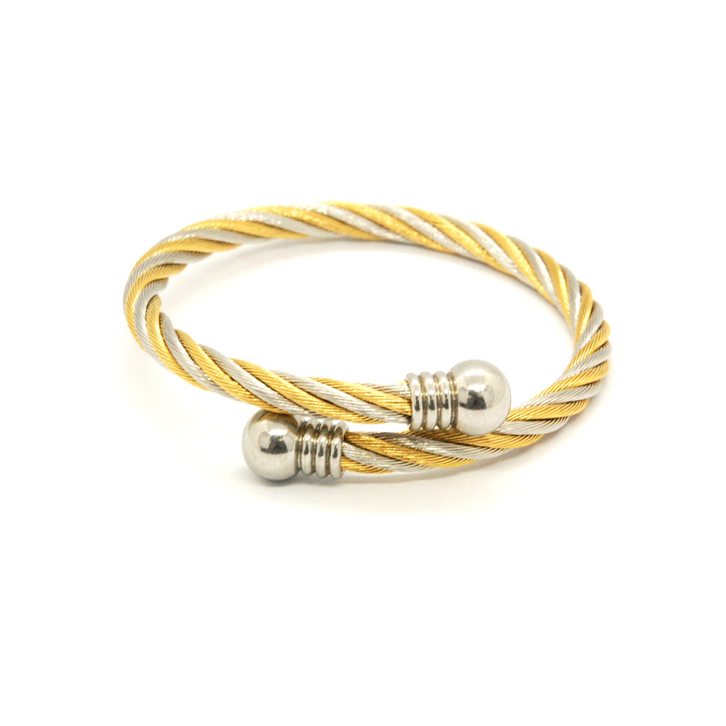 ESBG 6579: 2-Tone Twisted Charriol Bangle w/ White Ball Ends