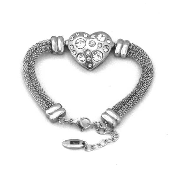 ESBL 4910: Mesh Blet w/ 17-Cubic Zirconia Heart Center