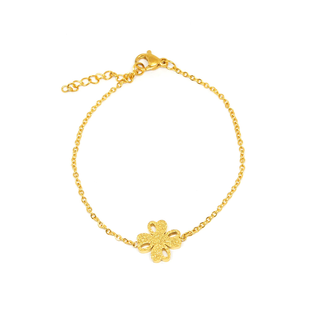 ESBL 5634: Delicate All IPG Sandblasted Good Luck Clover Bracelet
