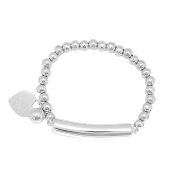 ESBL 5199: 26-Ball Bracelet w/ Barrel Center & Tiffany Charm