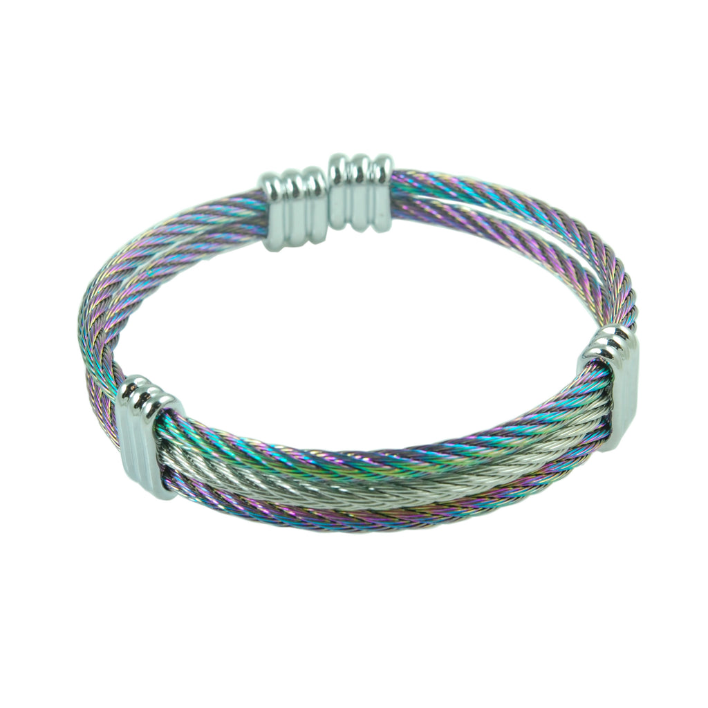 ESBG 5344: 3-Lined Rainbow Colored Bangle