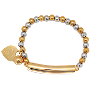 ESBL 5574: Stretchable 2-tone 26-Ball Bracelet w/ Gold Plated Barrel Ctr & Tiffany Heart Charm