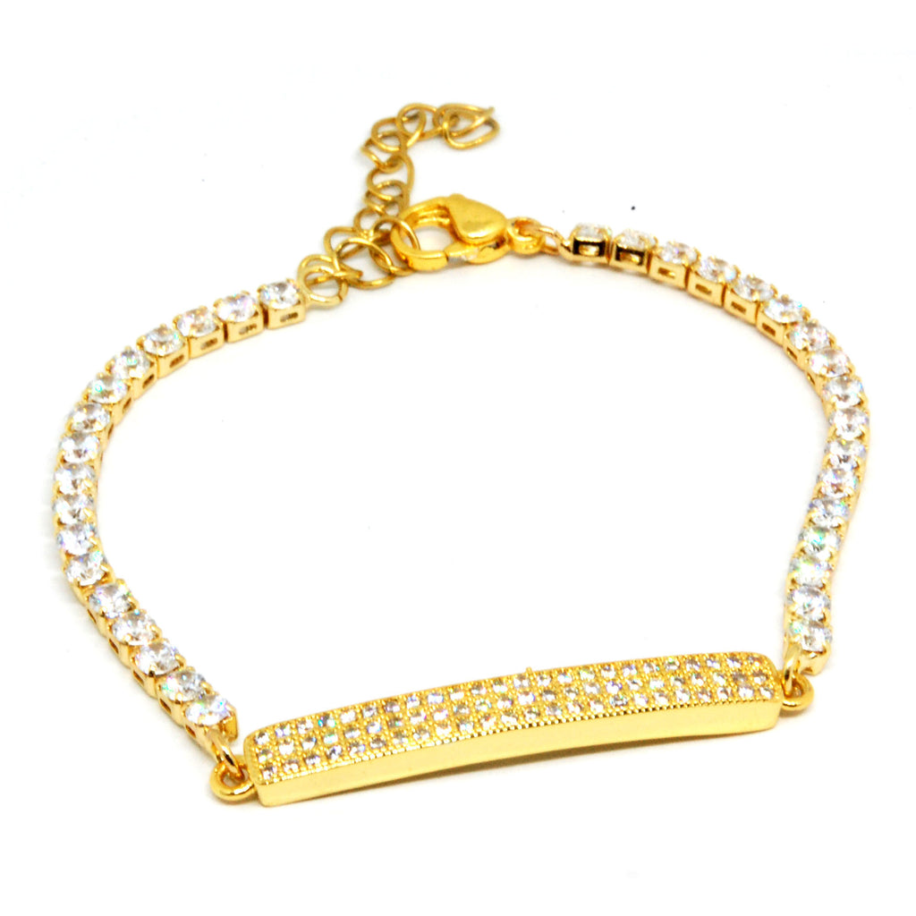 ESBL 6157: Gold-Plated Cubic zirconia Studded Mini Bar Eternity Bracelet
