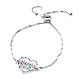 ESBL 6757: Multi-Color Heartbeat In Heart Adjustable Bracelet