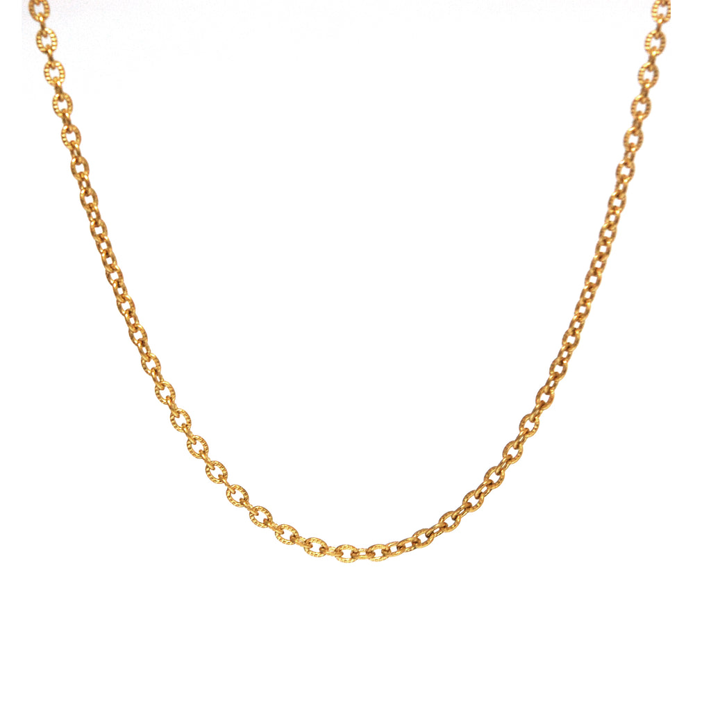 "ESCH 4865: 19"" Gold Plated Etched Elongated Round Link Chain"