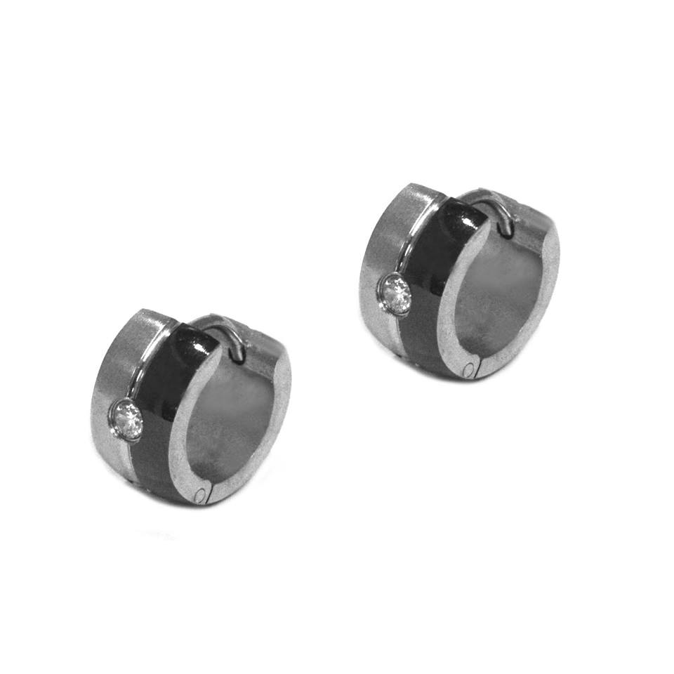 ESE 5068: Black & White 2-Sided Creollas w/ Cz Ctr