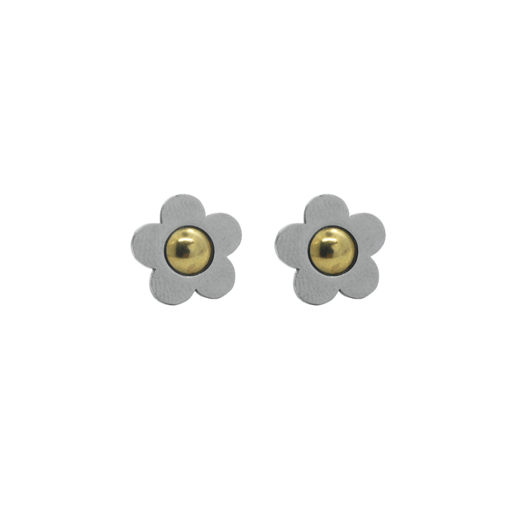 ESE 4812: 2-Tone Cute Daisy Earrings w/ Gold Center