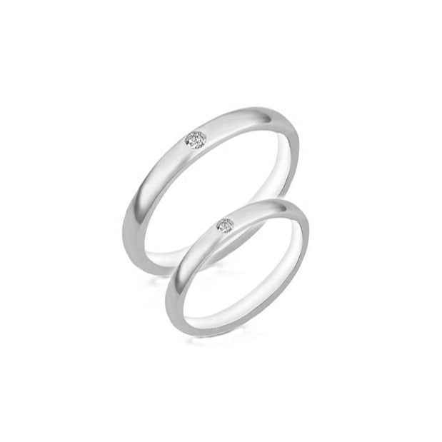 ESR 6645: Eileen 3mm Ultra-Thin Glossy Ring w/ 1 Mini Cubic Zirconia