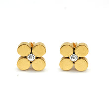 ESE 5676: 4-Petal Gold Clover Flower w/ 2mm Cubic Zirconia Center