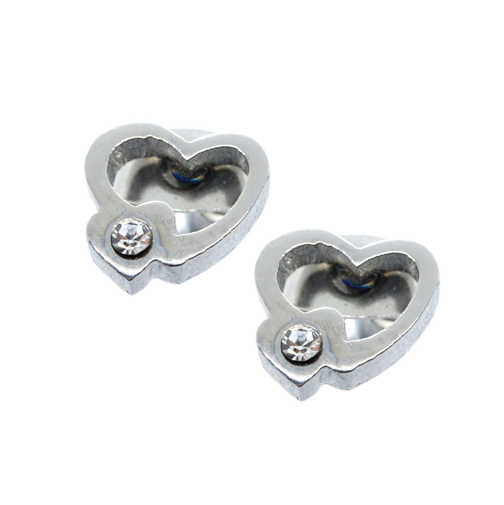 ESE 5683: Heart Outline Studs w/ Cubic Zirconia