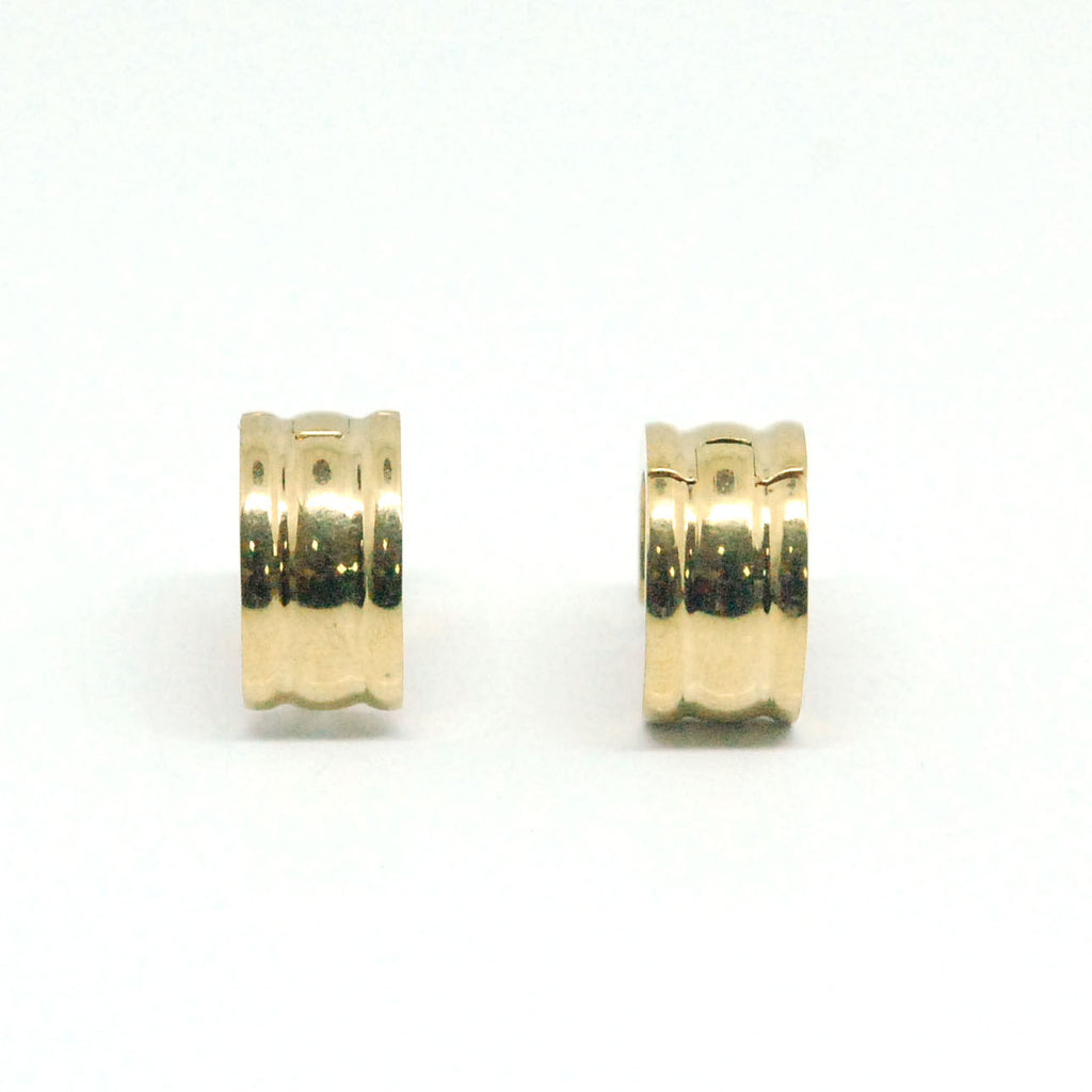 ESE 6047: Gold Plated Glossy Barrel Creollas w/ Raised Edges