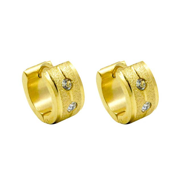 ESE 6055: Gold-Plated Sandblasted Creollas w/ Matte Edges & 2 Cubic Zirconia