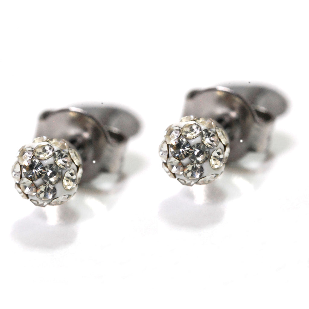 ESE 6293: Cubic Zirconia Studded Circle Earrings (4mm)