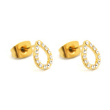 ESE 6324: Gold-Plated 13-Cubic Zirconia Teardrop Outline Studs