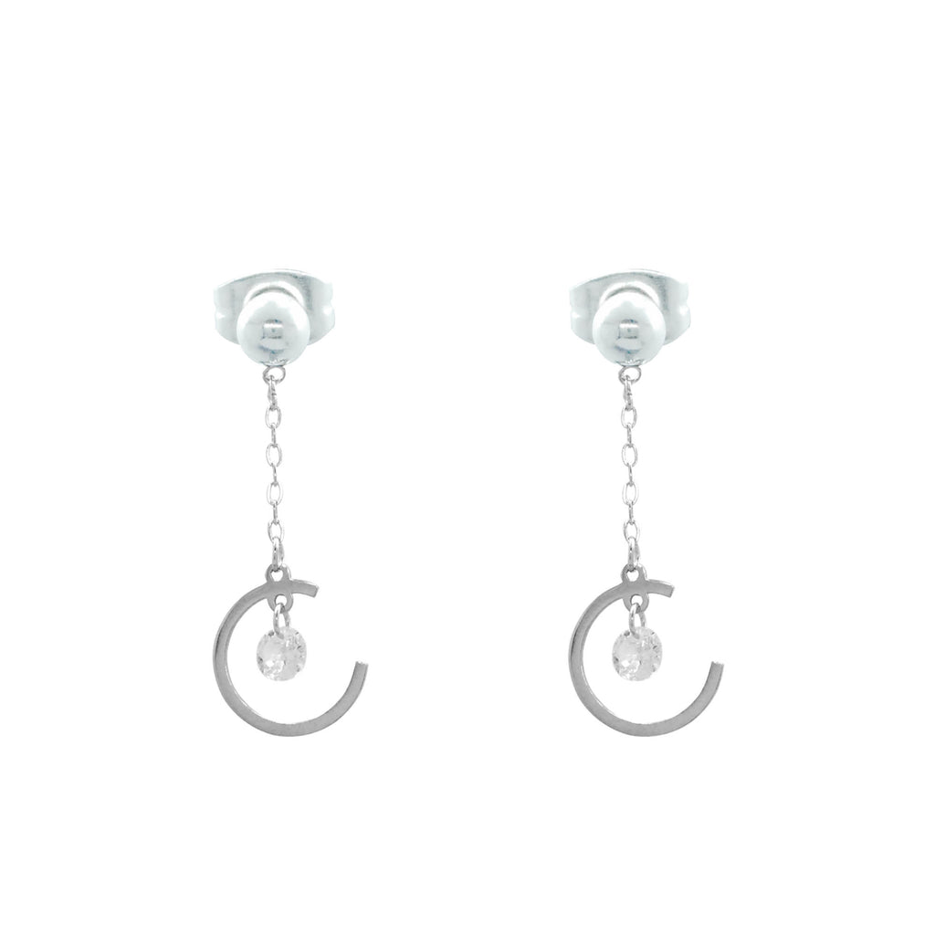 ESE 6376: Moon & Cz Star Dangling Earring