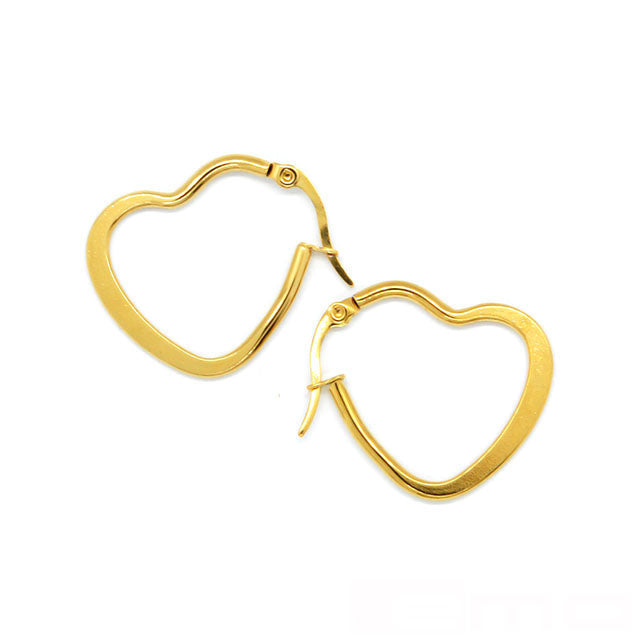 ESE 6565: 25mm Gold-Plated Flat Heart Hoops
