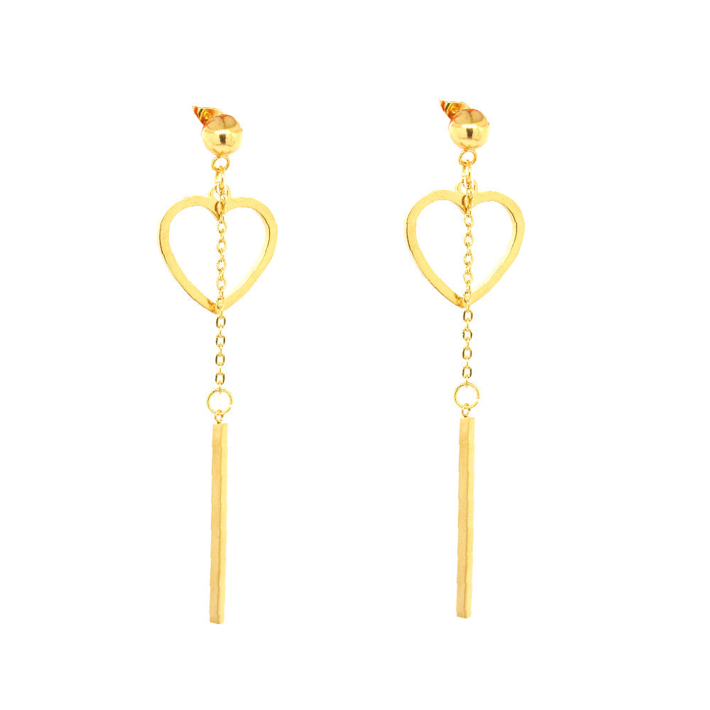 ESE 6600: Gold-Plated Dangling Heart & Bar Studs